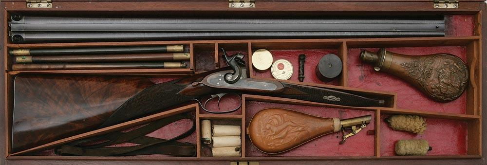 Fabulous Cased Percussion Double Fowler by Joseph Tonks of